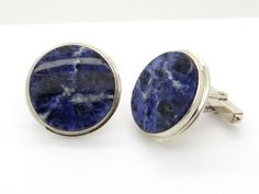 Sterling Silver & Blue Sodalite Cuff Links - Navy Blue Gemstone Cufflinks - Mens Vintage Jewellery - Gift for Him - Classical Design Jewellery at #VintageArtAndCraft