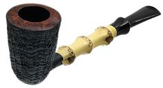 Li Zhesong Tobacco Pipes: Partially Sandblasted Dublin with Bamboo