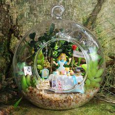 DIY Glass Ball Dollhouse terrarium Miniature Alice in wonderland Decor Terrarium, Garden Terrarium, Wooden Dollhouse Kits, Dollhouse Miniatures, Diy Dollhouse, Miniature Rooms, Miniature Fairy Gardens, Deco Disney, Diy Cadeau Noel