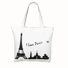e20d0e427785 Girls Canvas Handbag Tower Castle Pattern Shopping Shoulder Bags Women I  LOVE PARIS Printing Beach Bag