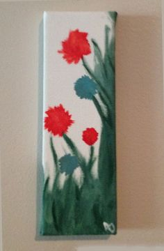 Acrylic Flower Painting on Miniature Stretched Back Canvas- Original. $15.00, via Etsy.