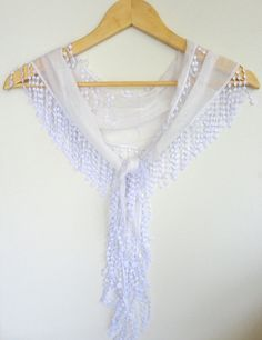fashion cotton scarves with lace new design white by scarvesCHIC, $12.90