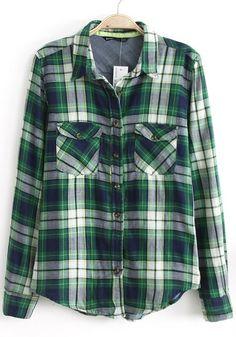 Green Plaid Long Sleeve Blouse
