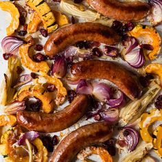 Roasted Sausages with Squash, Fennel and Onion