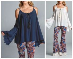 Bohemian Cold Shoulder Long Bell Sleeve Lace Trimmed Ladies Top NAVY WHITE S M L #Staccato #PeasantBlouseTunic #SummerBeach