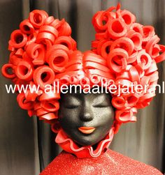 Queen of Scotch made by Allemaal Tejater Headdress, Headpiece, Foam Wigs, Female Clown, Queen Hair, Headgear, Costume Design, Textile Art, Wearable Art