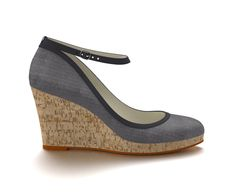 Patterned navy cork wedge heel with faded navy trim. I love the simplicity of this design; very pretty but simple. Would pair well with jeans, shorts, or a summer dress. Custom Design Shoes, Wedge Heels, Cork, Wedges, Pairs, Summer Dresses, Navy, Shorts, Simple