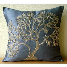 Paradise Tree - Throw Pillow Covers - 16x16 Inches Silk Pillow Cover with Bead Embroidery. $24.95, via Etsy.