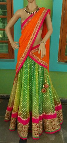 Lime Green Orange Sharara Half Saree Designs, Lehenga Designs, Blouse Designs, Indian Attire, Indian Ethnic Wear, Pakistani Outfits, Indian Outfits, Dandiya Dress, Half Saree Lehenga