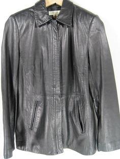 Casual Corner Women Leather Jacket Size S Black Lined #CasualCorner #BasicJacket