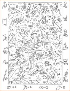 Hidden Picture Games are a great way to introduce new vocabulary to your students. made PowerPoints below, or use the Blank Template to create your own. Hidden Pictures Printables, Find The Hidden Objects, Hidden Picture Puzzles, Coloring Books, Coloring Pages, Wheres Wally, Picture Templates, File Folder Activities, Paper Games
