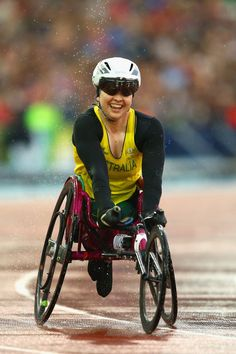 GLASGOW, SCOTLAND - JULY 31:  Angela Ballard of Australia smiles winning Gold in Women's T54 1500 mts. Final