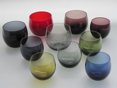 Marja glasses from almost the same colors as I have Hospitality Design, Glass Design, Colored Glass, Wine Glass, Pottery, Ceramics, Finland, Tableware, Enamel