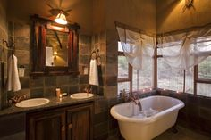 Book your stay at Jamila Game Lodge in Welgevonden Game Reserve, South Africa. Bathroom Styling, Lodge Bathroom, Corner Bathtub, Dream Bedroom, Lodge Style, Bathrooms Remodel, Remodel, House, Game Lodge