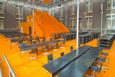 Think tank The Why Factory, is an independent research center at the Faculty of Architecture at Delft University of Technology in the Netherlands. The orange mountain of seating is designed by MVRDV and the flexible furniture by Dutch designer Richard Hutten. I'd be into sitting on the giant orange bleachers for a lecture. - See more at: http://eloisemoorehead.com/post/263528835/think-tank-the-why-factory-is-an-independent#sthash.KAY0S45S.dpuf