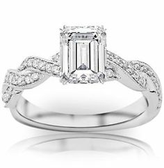 0.73 Carat Emerald Cut / Shape 14K White Gold Vintage Eternity Love Twisting Split Shank Diamond Engagement Ring  ( D-E Color , VS2 Clarity ) by Chandni Jewels - See more at: http://jewelryexcitement.com/jewelry/wedding-anniversary/engagement-rings/073-carat-emerald-cut-shape-14k-white-gold-vintage-eternity-love-twisting-split-shank-diamond-engagement-ring-de-color-vs2-clarity-com/#sthash.T9MNWWkx.dpuf