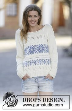 "Knitted DROPS jumper with pattern borders in ""Cotton Merino"". Size XS/S - XXXL…"
