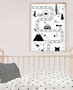 This Nursery Road Map gives a unique flavor to modern kids room or makes a cute playroom baby gift. You can find more black and white kids room ideas and kids posters in Scandinavian Nursery Art Section: http://etsy.me/2oT0yIl This is a digital file, ready for instant download. It can