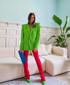 Colour Combinations Fashion, Power Colors, Pastel Outfit, Red Pants, Colourful Outfits, Colored Blazer, Street Style Women, Suits For Women, Fashion Outfits