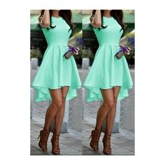 Rotita Round Neck Sleeveless Mint Green High Low Dress ($18) ❤ liked on Polyvore featuring dresses, cyan, long-sleeve mini dress, mint green dress, green print dress, a line dress and sleeveless dress