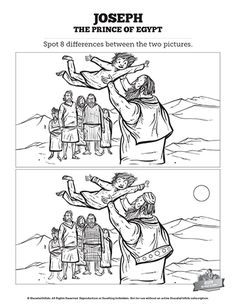 The Story Of Joseph the Prince of Egypt Kids Spot The Difference: Can your kids find every change in this story of Joseph the prince of Egypt kids spot the difference activity? These printable kids Bible activity pages are a great compliment to your Genesis 37-50 Sunday school lesson on Joseph and his coat of many colors.