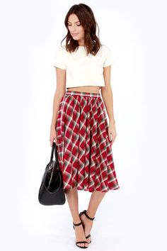 Plaid midi skirt and cropped top