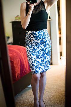 Christiana Floral Print Pencil Skirt