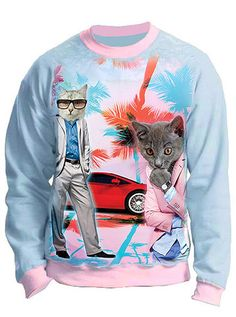 Cool Men Cats Miami Sweatshirt Top – IDILVICE