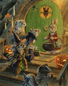 Chris Dunn Illustration/Fine Art: Paisley Rabbit And The Treehouse Contest Halloween Illustration, Art Et Illustration, Children's Book Illustration, Fantasy Kunst, Fantasy Art, Chris Dunn, Lapin Art, Alfabeto Animal, Illustration Inspiration