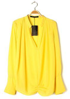 Yellow Ruffle V-neck Clipping Long Sleeve Chiffon Blouse from CiChic