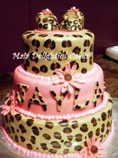 cheetah print party supplies | Leopard Print Baby Shower Cake - by Maia Delightful Cakes @ CakesDecor ...