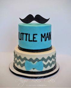 Little Man themed baby shower cake