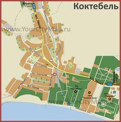 Карта Коктебеля с пансионатами