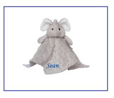 Personalized Elephant Blankie / Lovie / Security Blanket.