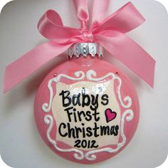 "Holiday Christmas Ornament - ""Baby's First Christmas II"" - Hand-painted Personalized Swarovski Crystals New Baby Girl Boy"