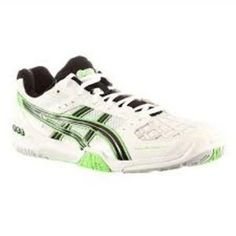 Speed, agility and stability are essential components of any squash player's game. The ASICS GEL-BLADE 4 #Squash Court Shoe  (R1150.00) has been designed with these requirements in mind to offer a stable, reliable platform.  Constructed with a synthetic leather upper designed to provide durability and comfort. The Asics gel cushioning system has the ability to absorb shock by dissipating vertical impact and dispersing it into a horizontal plane. Squash Shoes, Court Shoes, Asics, Blade, Platform, Stability, Sneakers, Leather, Stuff To Buy