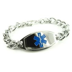 MyIDDr - Mens Stainless Steel Medical Alert Bracelet, Thick Curb Chain, Blue Symbol - Free ID Card ** Be sure to check out this awesome product. (This is an Amazon Affiliate link and I receive a commission for the sales)