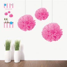 3pk, 15cm pink puff hanging decorations:One Stop Kids Party Shop