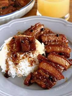 Easy Pork Hamonado using Pork Belly - a perfect balance of sweet and savory and with meat so tender, it melts in you mouth. Recipes Using Pork, Meat Recipes, Asian Recipes, Cooking Recipes, Healthy Recipes, Easy Filipino Recipes, Easy Pork Belly Recipes, Pinoy Food Filipino Dishes, Dinner Recipes
