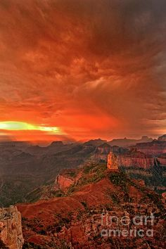 ✮ Stunning Red Storm Clouds Over The North Rim Grand Canyon Arizona