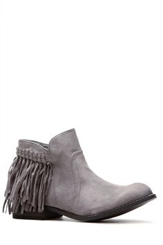 Grey Faux Suede Fringe Ankle Boots @ Cicihot Boots Catalog:women's winter boots,leather thigh high boots,black platform knee high boots,over the knee boots,Go Go boots,cowgirl boots,gladiator boots,womens dress boots,skirt boots.