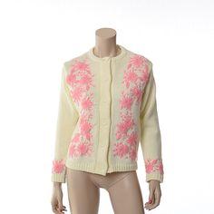 Vintage 60s Pink Embroidered Flowers Sweater by CkshopperVintage