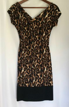 Diane Von Furstenberg Leopard Stretch Sz 8 Dress Gathered Waist Fitted NOT WRAP #DianeVonFurstenberg #StretchBodycon