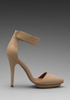 JEFFREY CAMPBELL Solitaire Heel in Beige Leather - Jeffrey Campbell