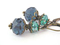 #etsyfollow,#vintage style earrings,#deep teal brass earrings