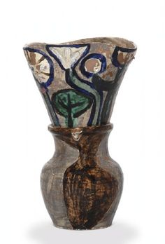 """Vase of Flowers"" Pablo Picasso (1881-1973) workshop Madura, Vallauris 1948 Earthenware slip, glazed Deposit Musée national Picasso, 2005 Inv. MP 3755 © ADAGP, Paris, 2012. Photo: Decorative Arts"