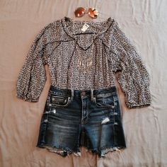 boho self-tie top Worn couple of times. Good Condition. Minimal signs of normal wear/wash. Size S, relaxed slightly loose fit. [ sunnies & necklace are Not for Sale ]  No Hold. No Trade. Price is Firm. Lucky Brand Tops Tees - Long Sleeve
