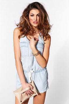 Romper obsessed! Now in ultra soft denim at Dynamite.