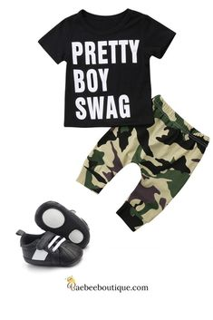 Keep him swaggy and comfortable in this graphic t-shirt and camo pants. Toddler Boy Fashion, Toddler Outfits, Baby Boy Outfits, Kids Fashion, Cute Outfits, Pretty Boy Swag, Pretty Boys, Camo Pants, Everything Baby