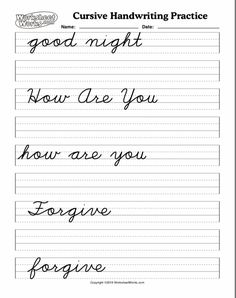 Cursive Handwriting Practice, Teaching Cursive, Cursive Alphabet, Improve Your Handwriting, Art School, Forgiveness, Homeschooling, Worksheets, Names